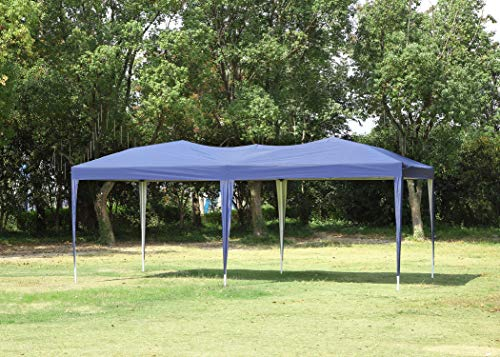 CHARAVECTOR 10 x 20 ft Heavy Duty Pop-up Tent Gazebo for Outdoor Party Wedding Commercial Activity Pavilion BBQ Beach Car Shelter (Blue)
