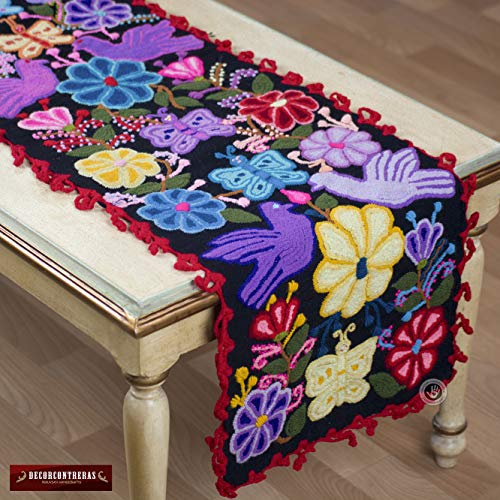 """Peruvian table runner pattern 63""""- embroidery Black table runner, Boho table runner Decor, Embroidered Table linens from Peru, Peru Textiles"""