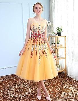 HY&OB Vestido Princesa Jewel Tea Longitud del Cuello De Tul Vestido Cocktail De Graduación con Embroideryblack