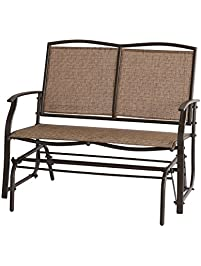 Ulax Furniture Outdoor Patio Wicker Glider Swing Loveseat Bench Chair In  Brown