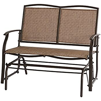 Ulax Furniture Outdoor Patio Wicker Glider Swing Loveseat Bench Chair In  Brown