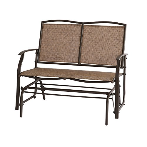 inch black com frame glider amazon outdoor bench swing dp seat loveseat steel patio belleze rocker
