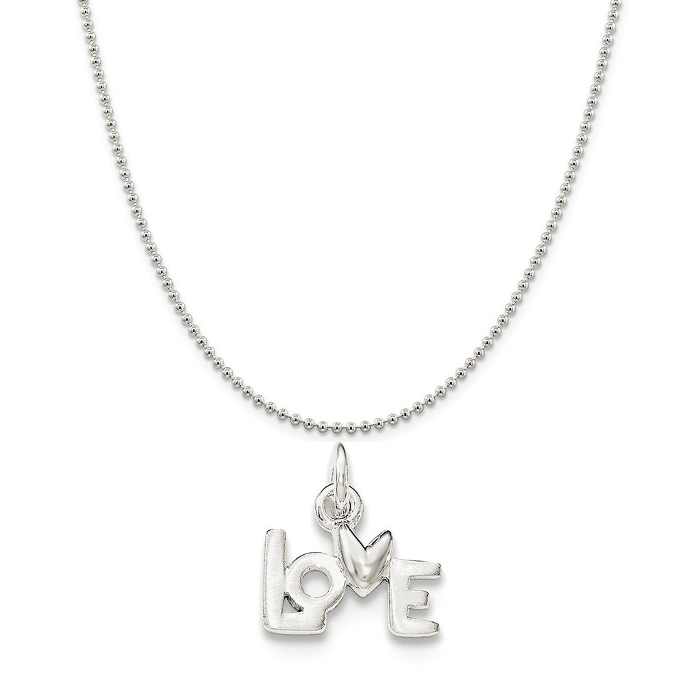 Sterling Silver Polished Love Pendant on a Sterling Silver Cable Snake or Ball Chain Necklace