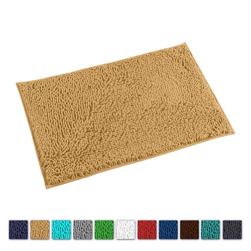 "LuxUrux Bath Mat-Extra-Soft Plush Bath Shower Bathroom Rug,1"" Chenille Microfiber Material, Super Absorbent Shaggy Bath Rug. Machine Wash & Dry(20 x 30, Marzipan)"
