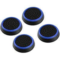 4pcs Silicone Anti-slip Striped Gamepad Keycap Controller Thumb Grips Protective Cover for PS3/4 for X box One/360 black & blue