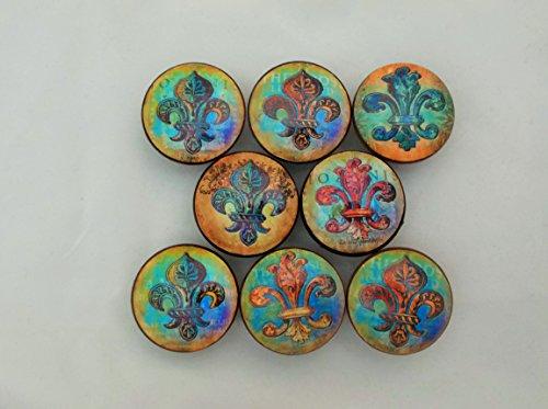 Set of 8 Copper Fleur De Lis Cabinet Knobs