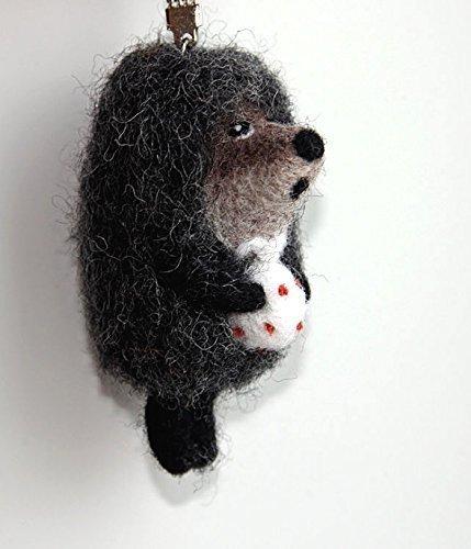 Unique Keychain - Felted Animal - The Hedgehog - Handmade Needlecraft Felt Figurine - Vintage Fairy Tail Keychain