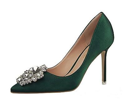 bfb74545644b6 Rhinestone Stiletto High Heels Dress Shoes Women Pumps Heels PU Leather  Festival Party Wedding Pumps Heels Business Formal Shoes (4, Green)