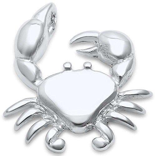 (Sterling Silver Plain Crab Charm Pendant)