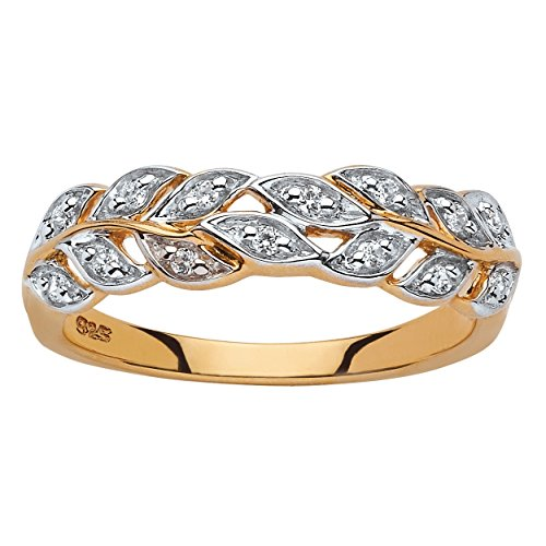 - White Diamond 18k Gold over .925 Sterling Silver Marquise Laurel Leaf Ring Band Size 7