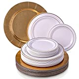 Cheap CLASSIC GOLDEN GLARE COLLECTION DINNERWARE SET | 240 PC DINNERWARE SET | 80 Charger Plates | 80 Dinner Plates | 80 Salad Plates | Elegant Fine China Look | for Upscale Wedding and Dining (White/Gold)