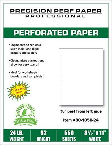 Blank Perforated Paper, 8.5 x 11 with 0.5