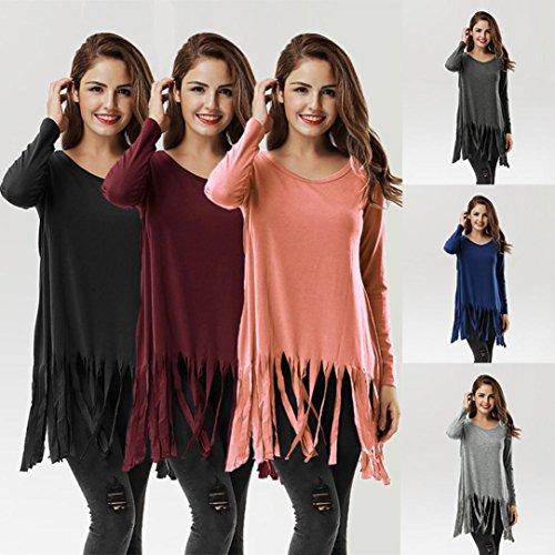 FNKDOR Mujeres Tassel manga larga O cuello camisa informal blusa suelta algodón Tops camiseta Rosa