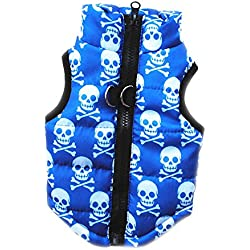 Voberry Pet Cat Dog Apparel Winter Print Quilted Vest Coat Harness Jacket Puppy Costume (XS, Blue)