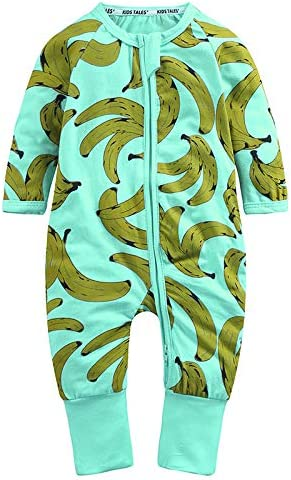 Kids Tales 3 Pack Baby Boys Long Sleeve Pajama Cute Cotton Graphic Zipper Romper