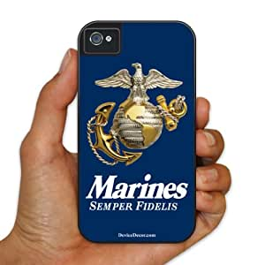 iPhone 4/4s BruteBox Case - Military Theme - Blue Marines Semper Fidelis - 2 Part Rubber and Plastic Protective Case