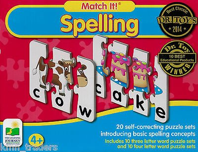 ( BUNDLE OF 4) learning Journey Match It Spelling 20 Self-Correcting Puzzle Sets,1 Stuffed Animal Elephant, 1 Little People Compare & Contrast Flash Cards Plus 1 Alphabet Learning Flash Cards. (Word Three Letter Puzzles)