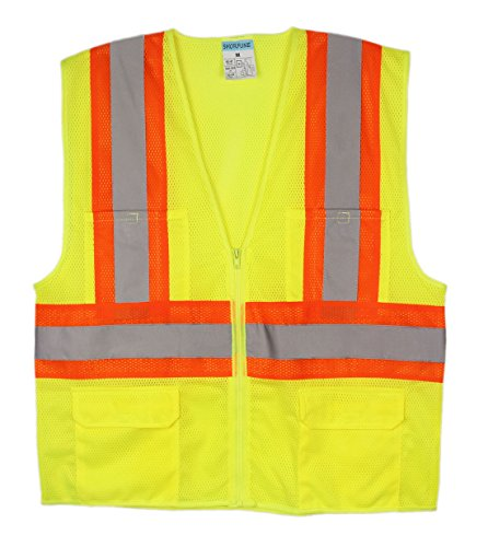SHORFUNE 1103U High Visibility Reflective Safety Vest with Pocketsand Zipper, Breathable Mesh, ANSI/ISEA Standard, Neon Yellow, M