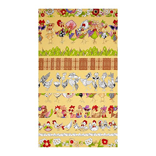 Loralie Designs 0558020 Chique Chicken Strips Yellow Fabric by The (Yellow Fabric Strips)
