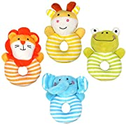 TUMAMA Baby Soft Rattle Infant Toys Handbell Cute Cartoon Animal Elephant/Lion/Frog/Deer Boy Girl Hand Bell Toddler Baby Plush Toys Gifts for Infants, Newborn, Boys, Girls - 4 PCS