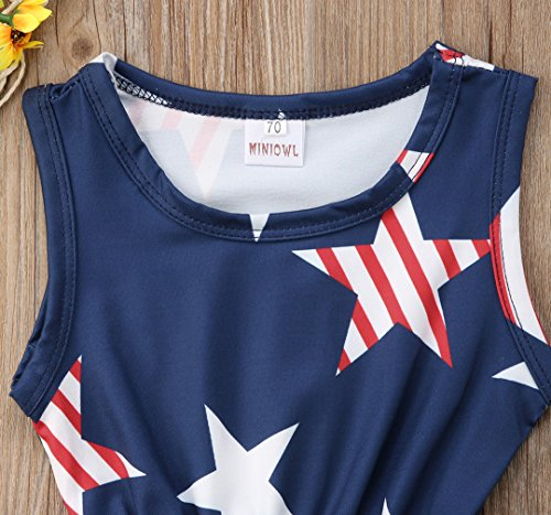 Specialcal 4th of July Baby Boys Girls American Flag Tassel Romper Bodysuit Jumpsuit One-Pieces Outfits Set