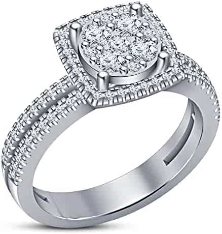 TVS-JEWELS Simulated Diamond Solitaire with Accents Ring W//White Platinum Plated 925 Sterling Silver