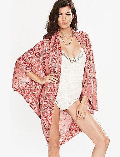 skt-swimwear Damen rot Printed Kimono Style Beachwear