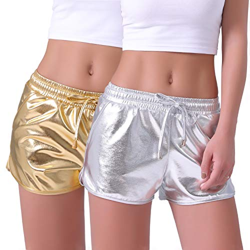 - POSHDIVAH Metallic Shorts for Women Hot Sparkly Shiny Shorts with Elastic Drawstring Silver & Gold S