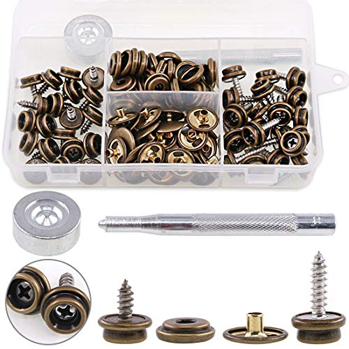 Hilitchi 120Pcs Bronze [2-Sizes] Screw-in Snap Stud Fastener Screw Snaps 3/8