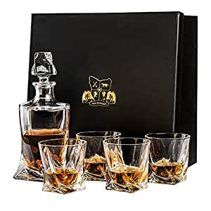 Whisky Decanter (750ml) and Set of 4 Glasses (300ml). Lead Free Crystal 'Tasman Twist' by Van Daemon for Spirits, Bourbon or Scotch. Perfectly Gift Boxed.
