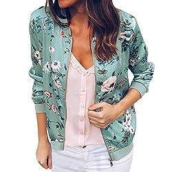 Vesniba Womens Ladies Retro Floral Zipper Up Bomber Jacket Casual Coat Outwear Green