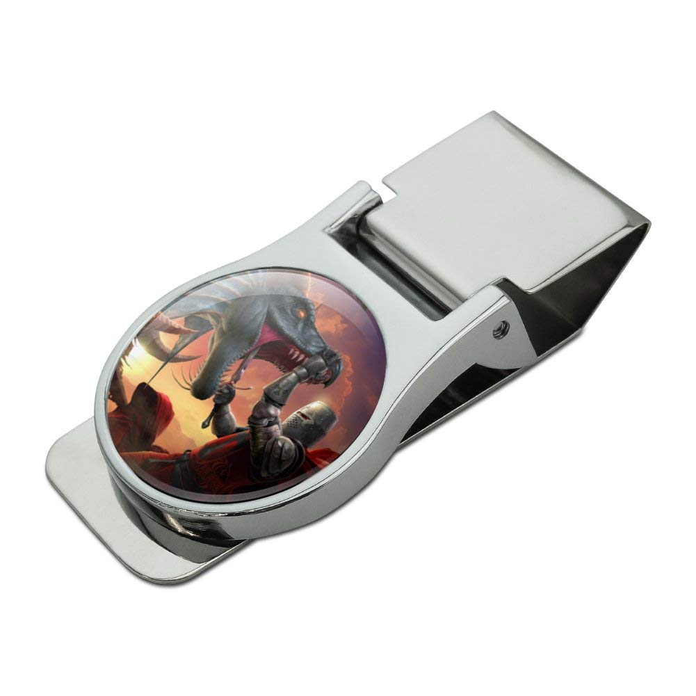 Knight Warrior Dragonslayer Dragon Fantasy Satin Chrome Plated Metal Money Clip