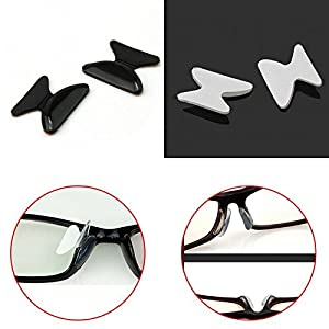 Yusylvia 5 Pair of 10pcs 2.5mm Anti-slip Nose Pads Eyewear Spectacles Stick On Nose Black White Silicone Pad (black)