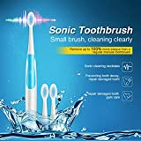 Electric Toothbrush IPX7 Waterproof Whitening Prevent Tooth Decay Removes Plaque with 2 Extra Replacement Brush Heads (Light Blue)