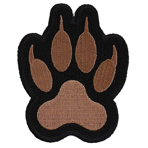 Canine Paw Print Iron on Patch - 2.9x3.5 inch. Embroidered Iron on Patch