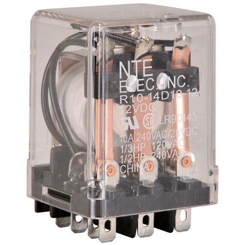 NTE Electronics R10-14D10-12 Series R10 General Purpose AC Relay, 3PDT-NO Contact Arrangement, 10 Amp, 12 VDC - Amp Dpdt Relay 10 12vdc