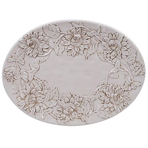 Certified International Toile Rooster Embossed Oval Platter 16