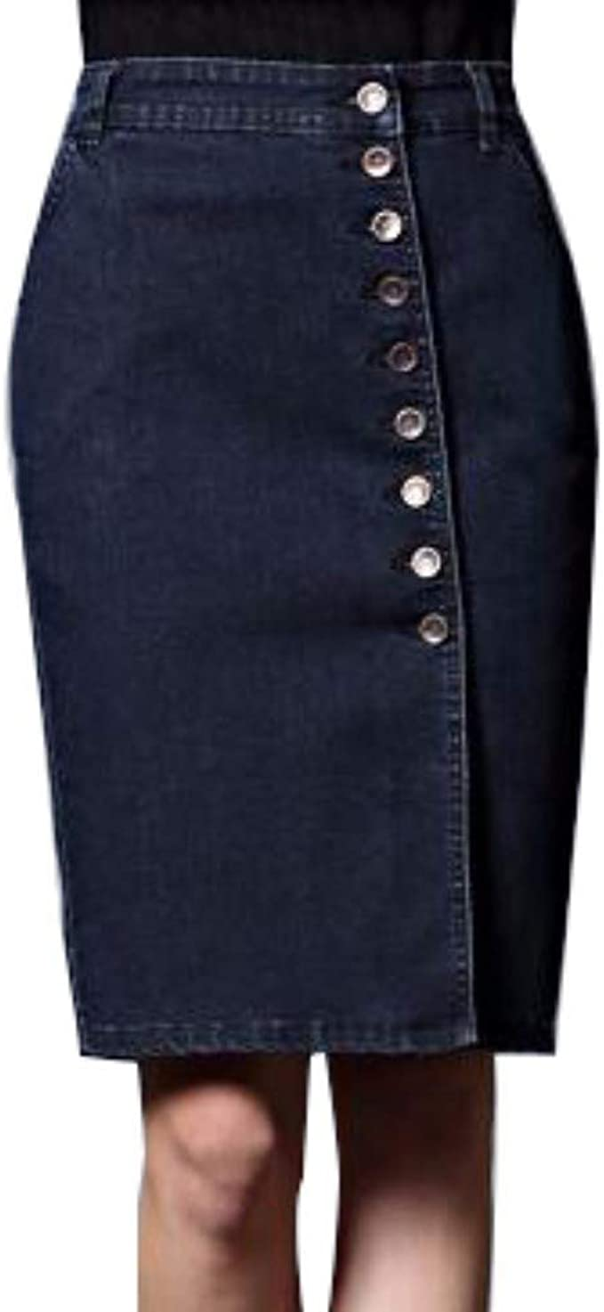 XHSSF-Falda vaquera Jeans Falda Larga Fila de Botones de una ...