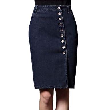 XHSSF-Falda vaquera Jeans Falda Larga Fila de Botones de una Sola ...