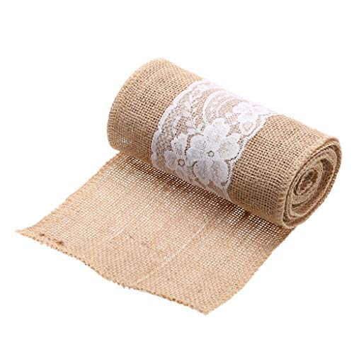 SANGNI 1Roll 15cmx2.5m Burlap Hessian Jute Ribbon,Rustic Farmhouse Style Natural Wedding Strap Décor Outdoor Wedding Engagement Parties, Christmas, Birthday, Hotels, Restaurants, Caters -