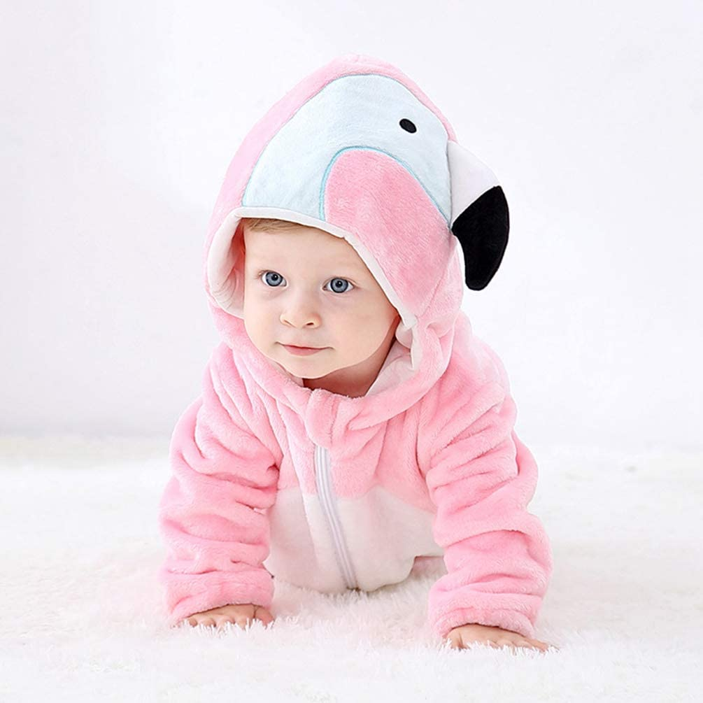 YOUJIAA Unisex Animal Costume Romper for Baby Girls Boys Warm Long Sleeve Flannel Pajamas Hooded Jumpsuit