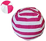 Sit and Stuff Storage Bean Bag Cover,Stuffed Animal Storage Bean Bag Chair ,Perfect Storage Solution For Extra Blankets / Pillows / Covers / Towels / Clothes by Mxinran(Big, Rose Red/White Striped)
