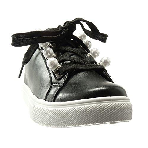 Angkorly - Scarpe da Moda Sneaker low donna perla gioielli Tacco tacco piatto 0 CM - Nero