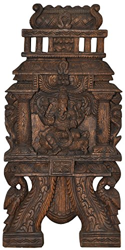 Ganesha Wall Hanging - South Indian Temple Wood Carving
