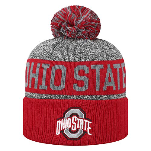 Top of the World NCAA Arctic Striped Cuffed Knit Pom Beanie Hat (Ohio State Buckeyes, One Size Fits Most) (Ohio State Beanie Womens)