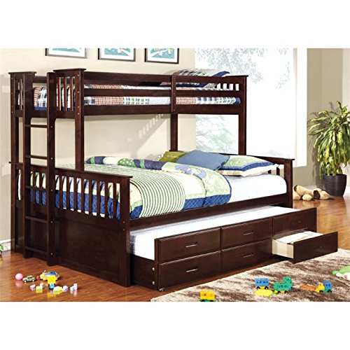 BOWERY HILL Twin Over Queen Bunk Bed in Espresso