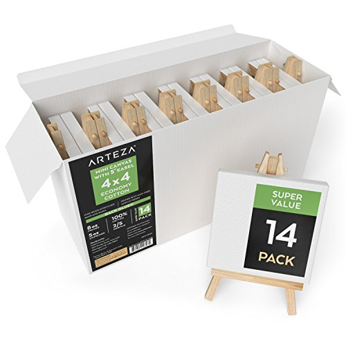 "Arteza 4x4"" Mini Stretched White Blank Canvas with Easel, Bulk Pack of 14, Primed, 100% Cotton for Painting, Acrylic Pouring, Oil Paint & Wet Art Media, Canvases for Professional Artist, Hobby Painter"