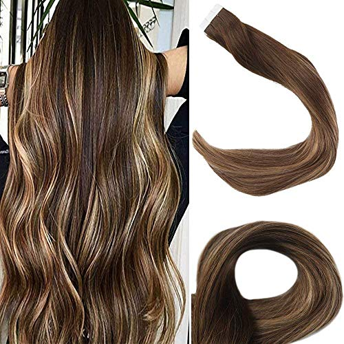 Promotion Full Shine 20 Remy Tape In Real Human Hair Extensions 2.5Gram/Pcs 50Gram Per Pack Color 4 Fading To 27 and 14 Highlighted With Color 4 Balayage Ombre Tape Extensions