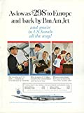 As low as $298 to Europe Pan American Boeing 707 ad 1960 stewardess NY