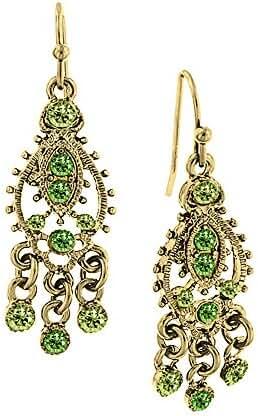 1928 Jewelry Goldtone Green Chandelier Earrings